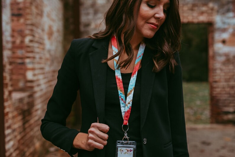 Breakaway Ikat Chevron Lanyard Lanyard For Her Keychain Work Accessories Cute Lanyard With ID Holder Badge Holder
