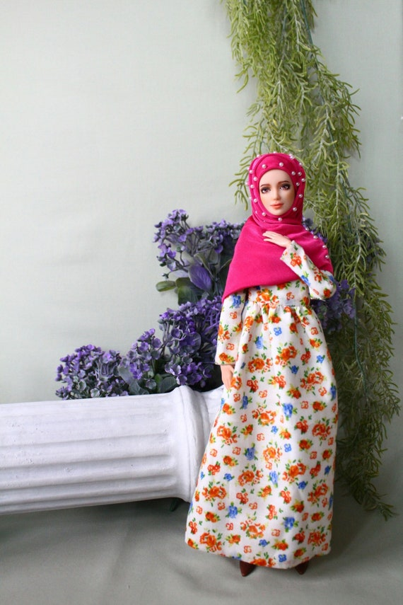 Handmade muslim flower vintage dress with pearls hijab and pin for muslim barbie doll ,fullla and barbie.EID gift .FREE SHIPPING