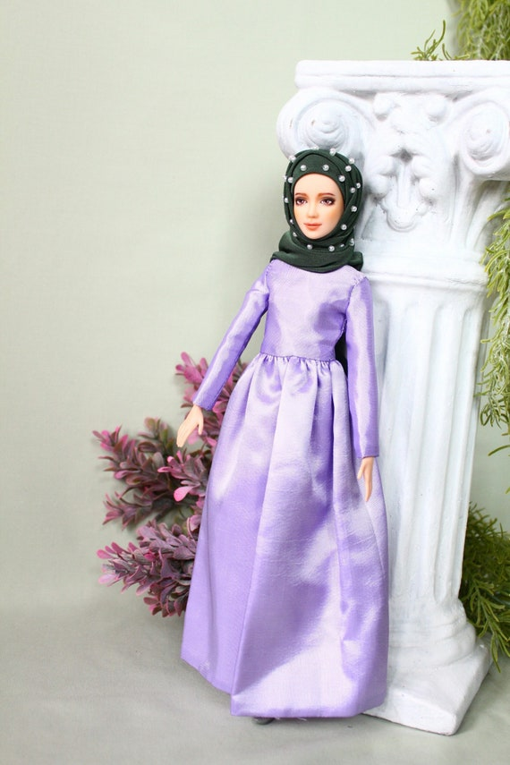 Handmade muslim pastel purple classy dress with pearls hijab and pin for muslim barbie doll ,fullla and barbie.EID gift.FREE SHIPPING