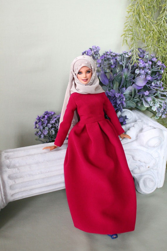 Handmade muslim deep pink classy dress with pearl hijab and pin for muslim barbie doll ,fullla and barbie.EID gift .FREE SHIPPING