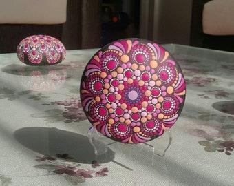 Mandala Stone Painted Rock Paperweight Mandala Rocks Hand Painted Stone Painting (including L legs)