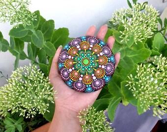 Mandala Stone Painted Rock Paperweight Details Mandala Rocks Hand Painted Stone Painting (Big Size)
