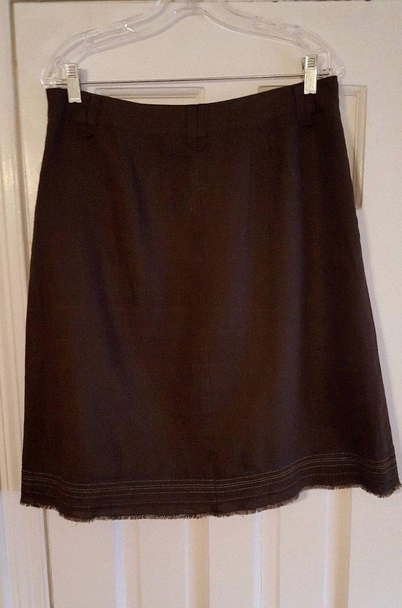 Vintage 90s i.t.w 100/% Linen Skirt Medium by claude brown Brown Silk /& Embroidered Trim Flattering Interesting Design Flared SALE