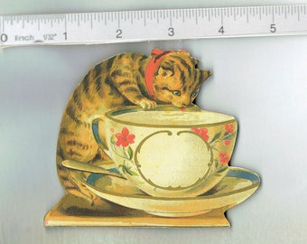 HANDMADE    Kitchen Refrigerator Magnet .   Cat in Saucer