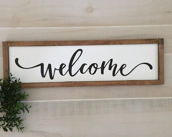 "Welcome wooden sign / 22""W x 6.5""H / entryway sign / home decor / housewarming gift / wall decor / farmhouse sign / handmade"