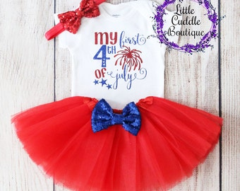db4696589 First Fourth of July Outfit, First Fourth of July Bodysuit, Patriotic Baby,  4th of July Outfit, Firework Outfit, First Holiday Outfit