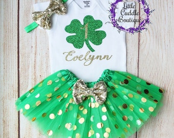 a03b388d5747 Personalized St. Patrick s Day Birthday Tutu Outfit
