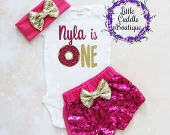 Personalized Donut First Birthday Outfit, Donut Birthday Outfit, Baby Girl Gift, Donut Birthday, Donut Shirt, First Birthday Bodysuit