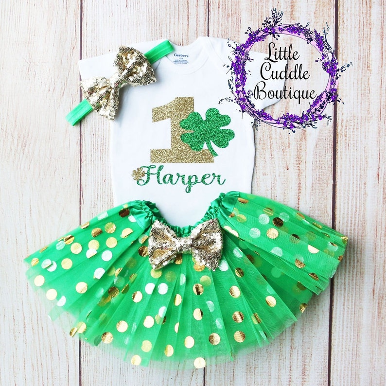 67cdad2fe7a6 Personalized St. Patrick s Day Birthday Tutu Outfit St.
