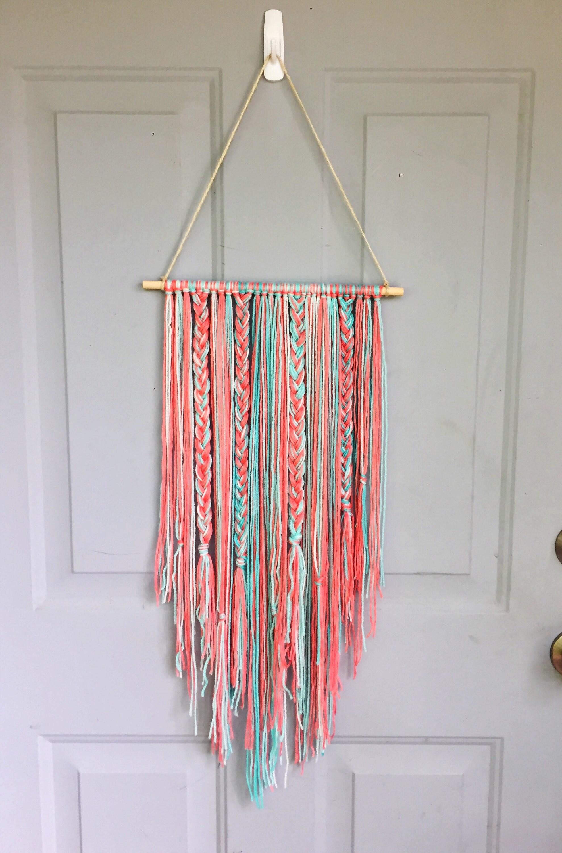 Boho Wall Hanging Bow Holder Yarn Wall Hanging Nursery Etsy