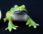 Frog – Large: Fairy garden, miniature garden, fairy garden accessories, ceramic, miniature animal, frog