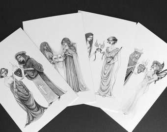 Love, Truth, Freedom, and Beauty - Set of 4 Postcards