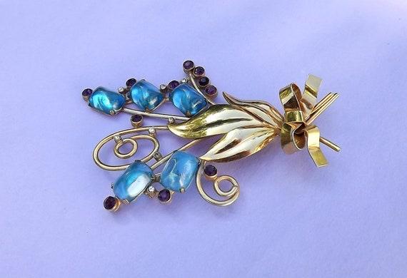 1930's Poured Gripoix Glass & Rhinestone Flower Sp