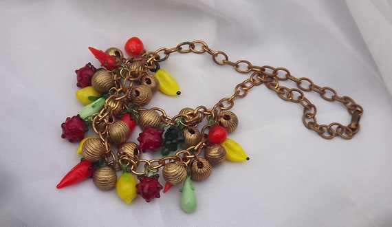 Vintage Glass Fruit Necklace Fruit Salad Tutti Fru