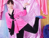 90s velvet pants jacket, 90s vintage velour two piece set, casual pant suit, pink black velour pants jacket