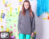 vintage autumn sweater, gray mock neck pullover, 90s vintage sweater, wool turtleneck sweater, autumn winter jumper