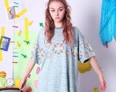 80s 90s tshirt, ELHO vintage tee, cotton 80s t-shirt, 90s vintage tshirt, neon acid pattern tee, oversized slouchy t-shirt,plus size vintage