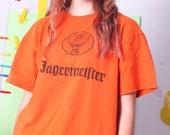 JAGERMEISTER t-shirt, 90s vintage orange tshirt, cotton unisex men tee, women retro top, plus size vintage XL