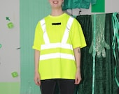 reflective t-shirt, neon oversized party rave tshirt tee top outfit workwear, size L