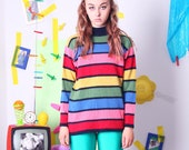 vintage rainbow sweater, colorful wool angora sweater, 90s vintage pullover sweater for women men, striped wool jumper, size 34/36