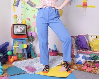 80s easy pants, vintage 80s trousers, high waist pants, pants on elastic, 90s blue trousers, vintage retro blue pants, 90s vintage trousers