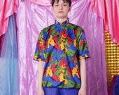 vintage cycling jersey, retro camo bike t-shirt, colorful abstract pattern tshirt, cycling bike sports tee, size L