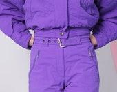 ski suit, two piece ski suit, vintage ski suit, retro ski jacket pants, skiing costume, 80s 90s vintage, purple ski suit, snow gear size 40