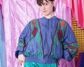 90s silk bomber jacket, 80s graphic geometric jacket, spring summer jacket, unisex jacket men women, vintage windbreaker