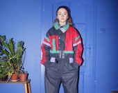 vintage ski suit, 80s 90s ski suit, jumpsuit snow gear, skiing costume, overall, coveralls, ski overall, snowboard suit, size L