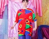 vintage colorful shirt, red crazy pattern blouse, 80s 90s retro top, clown blouse, geometric print shirt, button up, size 40