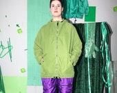 vintage green jacket, ESPRIT minimal jacket, retro hooded jacket, 90s simple jacket, plain padded jacket, size M