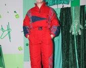 retro ski suit, vintage ski suit, 80s 90s ski suit, ski jumpsuit, snow suit, skiing costume, ski overall coverall, one piece ski suit
