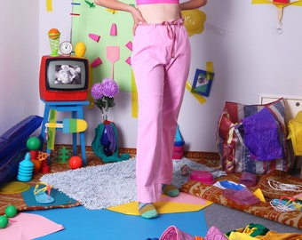90s pink pants, vintage pastel trousers, kawaii kitsch pants, 90s pink trousers, high waist, size F 44