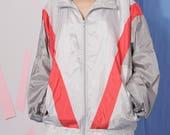 silver vintage tracksuit jacket size XL, red gray nylon tracksuit top, lightweight jacket