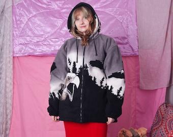 90s vintage fleece jacket, warm winter black eagle jacket, hooded zip up jacket, retro vintage streetwear