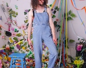 vintage dungarees, 80s 90s retro denim jeans overall coveralls, dungarees women, vintage jumpsuit F 38