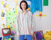 80s striped shirt, vintage button up blouse, striped oxford shirt, retro 80s blouse, minimal long sleeve shirt, size 16