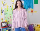 striped 90s shirt, vintage striped blouse, pastel pink minimal shirt, 90s button up blouse, vintage striped oxford shirt, size L 41/42