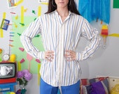 minimal 80s shirt, striped vintage blouse, 80s vintage shirt, minimal 80s blouse, striped oxford shirt, long sleeve button up blouse, s. 42