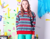 wool vintage sweater, pattern knit sweater, colorful vintage pullover, warm autumn wool jumper, winter red colorful sweater size M