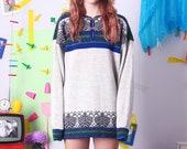 wool vintage sweater, beige natural vintage pullover, wool warm autumn jumper, winter pattern sweater, pure new wool