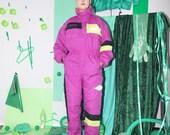 neon ski suit, vintage retro ski suit, 80s 90s ski suit, snow suit, ski jumpsuit, ski overall coverall, one piece ski suit