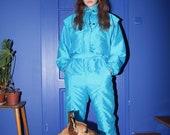 retro ski suit, 80s 90s vintage ski suit, blue ski suit, skiing costume, jumpsuit overalls coveralls, space age, snow gear, size F44 USA16