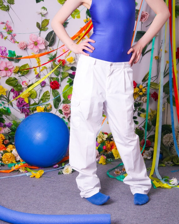 90s vintage white cargo pants, y2k 00s clothing, r