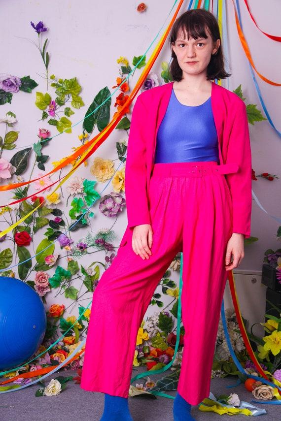 80s wide leg pants, pleated hot pink fuchsia pants