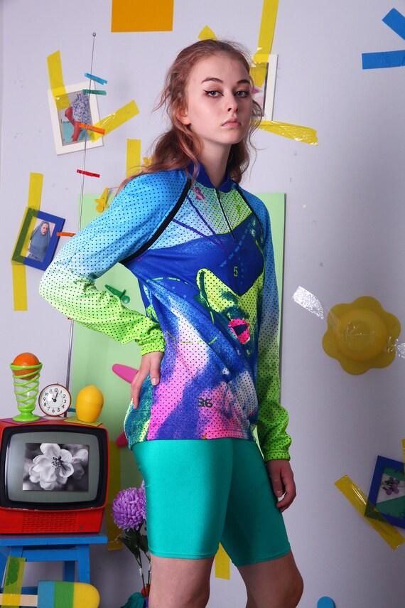 80 s 90 s cyclisme jersey, chemise vélo fluo, visage visage fluo, graphiques, des années 80 vintage shirt, en jersey acide fluo, Polo abstrait coloré 33cd2d