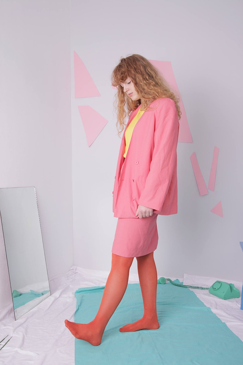 candy pink skirt suit size 42 jacket women/'s suit vintage two piece skirt set pencil pink skirt