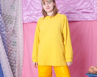 90s vintage yellow sweatshirt, plain basic cotton retro pullover, size L