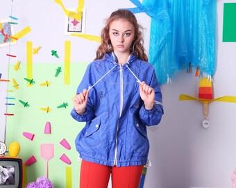 90s vintage jacket, retro vintage windbreaker, blue hooded lightweight jacket, 90s blue windbreaker, size 164