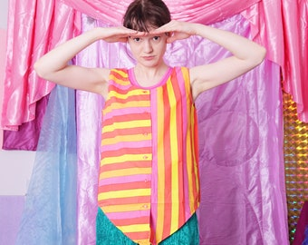 90s striped top, vintage retro striped colorful pastel sleeveless tank buttoned summer cotton top blouse, size M